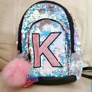 "Justice Girl Silver Sequin Initial ""K"" Mini Bag"